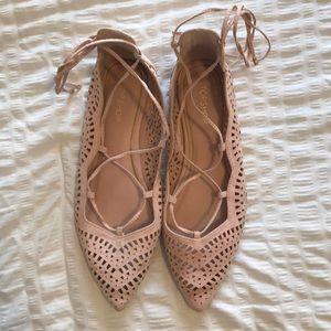 pointed pink flats